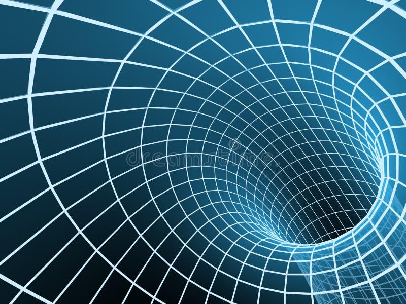 Túnel azul do sumário 3d de uma grade ilustração stock
