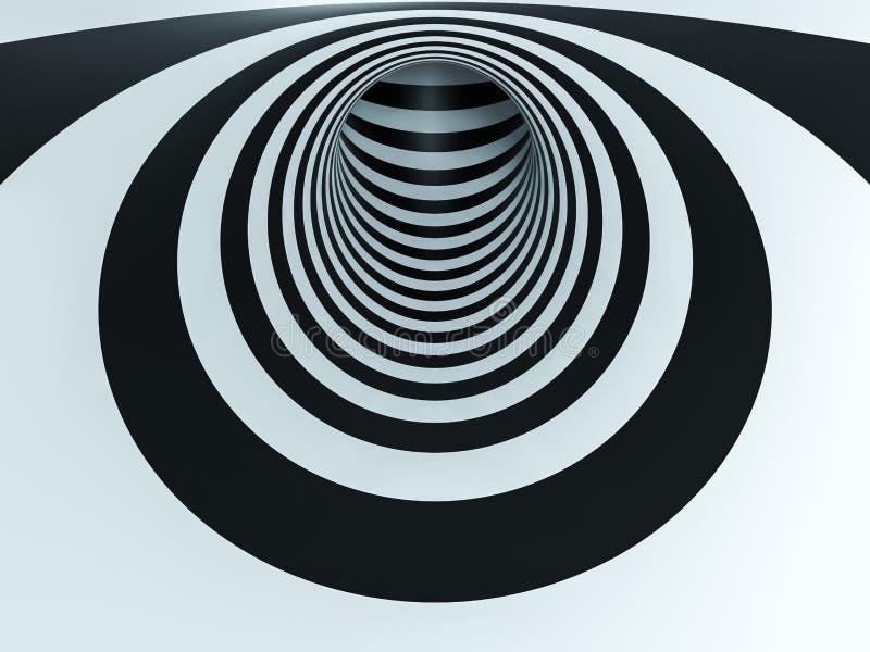 túnel blanco y negro de la ilusión óptica ilustración del vector