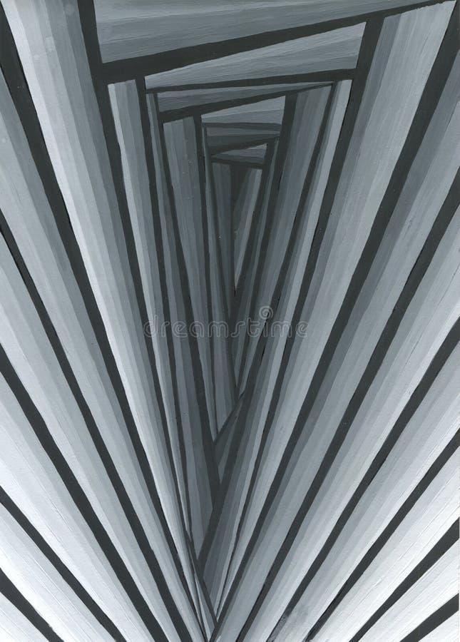 Túnel colorido rombal o cuadrado infinito de llamaradas brillantes Sectores del túnel de la forma de los puntos que brillan inten stock de ilustración
