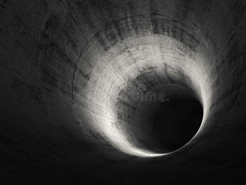 Túnel concreto oscuro redondo 3D abstractos rinden libre illustration