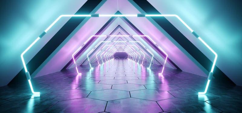 Túnel concreto reflexivo estrangeiro futurista moderno Empt do corredor ilustração stock