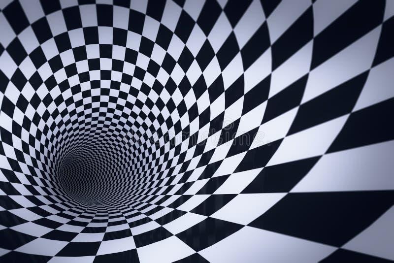 túnel a cuadros 3d stock de ilustración