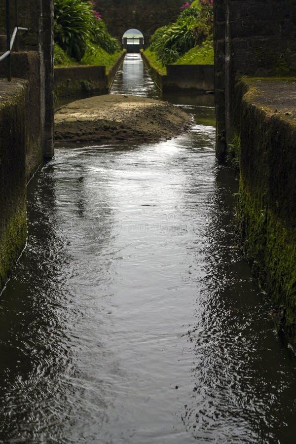 Túnel da descarga da lagoa das sete cidades em Açores imagem de stock royalty free