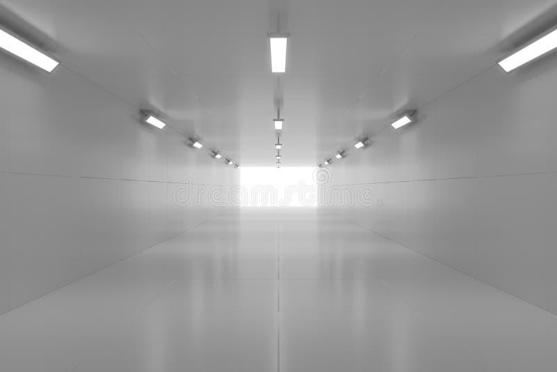 Túnel de brilho vazio abstrato com luz na extremidade ilustração 3D foto de stock