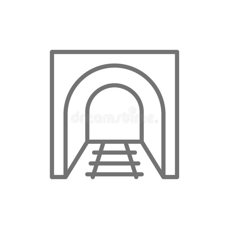 T?nel de estrada de ferro com trilhos, estrada da estrada de ferro, linha ?cone do metro ilustração do vetor