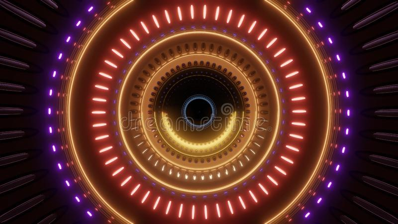 Túnel de gerencio abstrato com multi luzes da cor ilustração royalty free