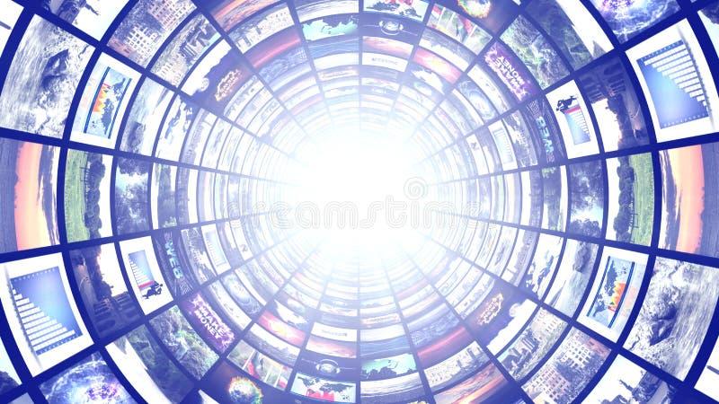 Túnel de los monitores, fondo abstracto de los gráficos de ordenador de la tecnología foto de archivo libre de regalías