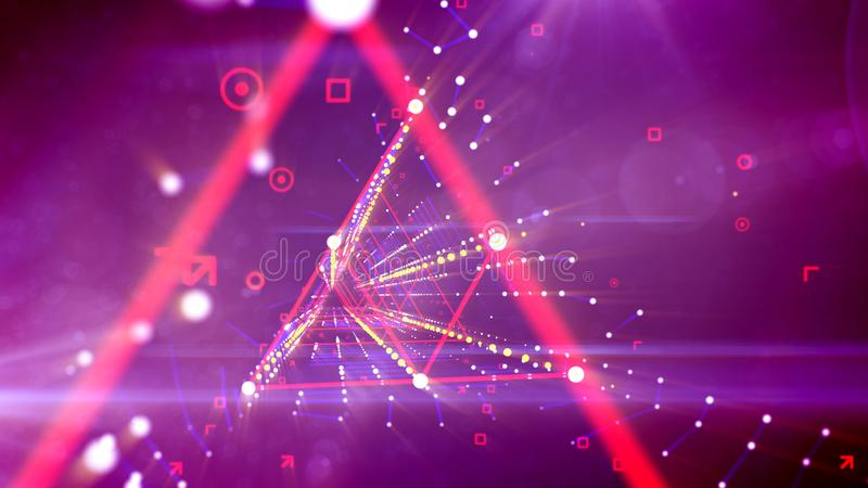 Túnel de néon do rombo rosado virtual distorcido ilustração royalty free