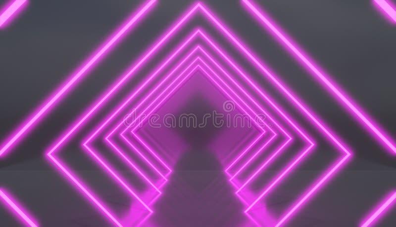 Túnel del Rhombus hecho de luces de neón rosadas ilustración del vector