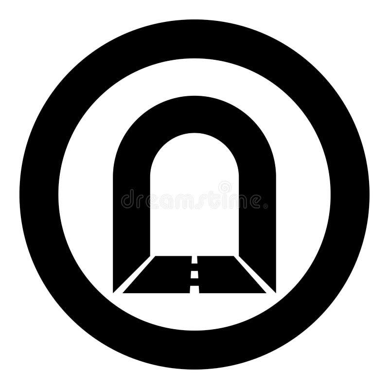 Túnel del subterráneo con el camino para el ejemplo de color del negro del icono del coche en el círculo redondo ilustración del vector