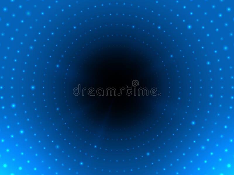 Túnel digital abstracto con la luz en el extremo Fondo cibernético futurista Tubo que brilla intensamente brillante Contexto mode ilustración del vector
