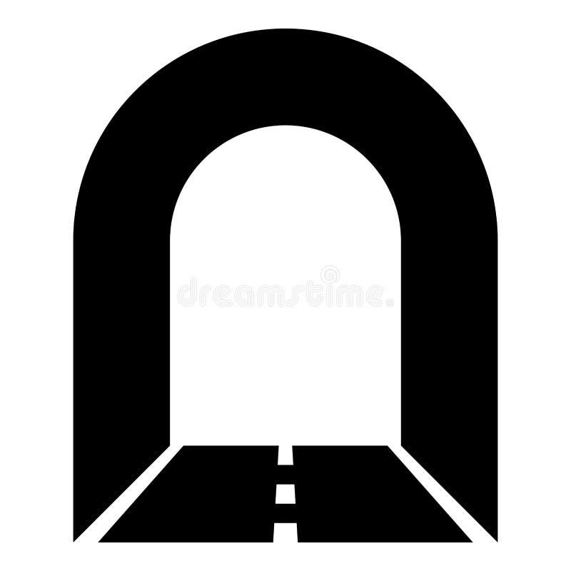 Túnel do metro com a estrada para a ilustração de cor do preto do ícone do carro ilustração royalty free