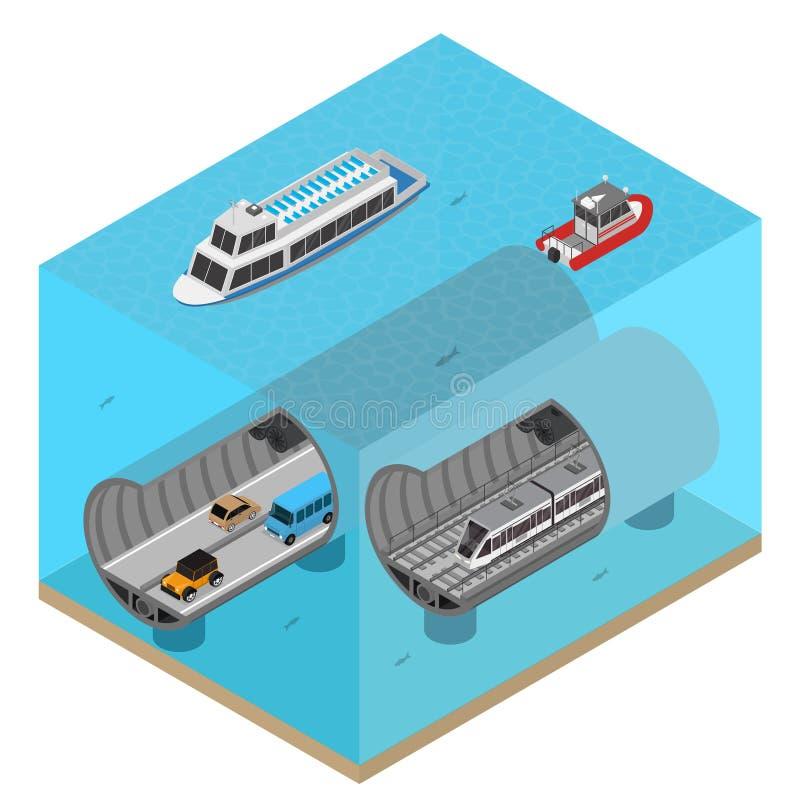 Túnel do metro sob a opinião isométrica do conceito 3d da água Vetor ilustração stock