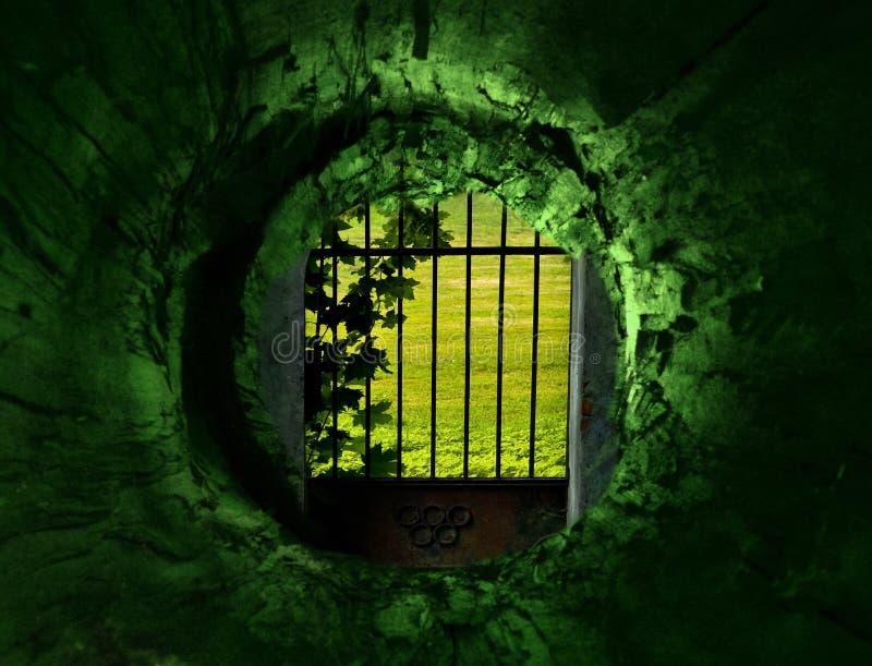 Túnel e portas ao jardim secreto imagens de stock royalty free