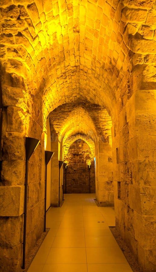 Túnel en la ciudadela del acre - Israel imágenes de archivo libres de regalías