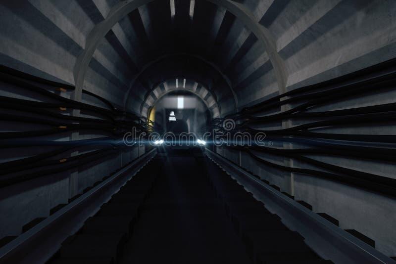 Túnel escuro do metro com trem ilustração royalty free