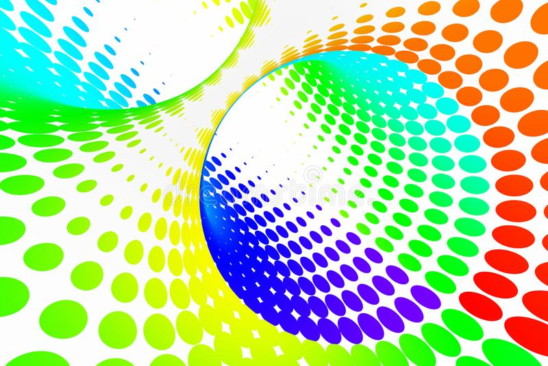 Túnel espiral pontilhado arco-íris Ilusão ótica manchada torcida listrada Fundo de intervalo mínimo branco abstrato 3d rendem ilustração stock