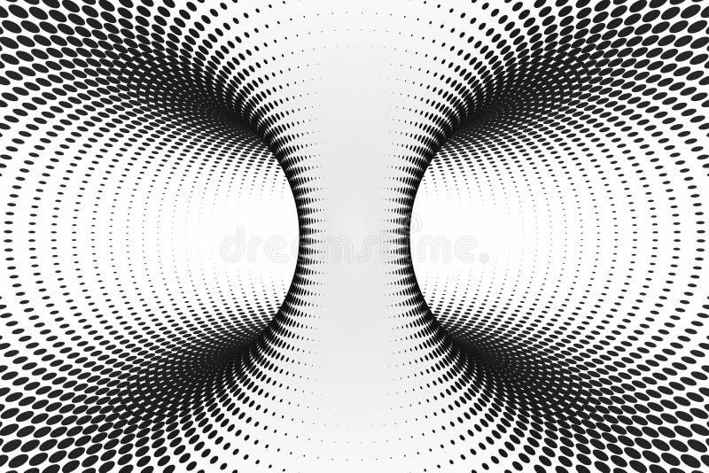 Túnel espiral pontilhado preto e branco Ilusão ótica manchada torcida listrada Fundo de intervalo mínimo abstrato 3d rendem ilustração royalty free