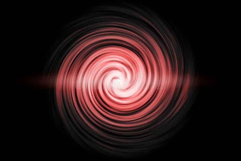 Túnel espiral que brilla intensamente con niebla roja clara en fondo negro imágenes de archivo libres de regalías