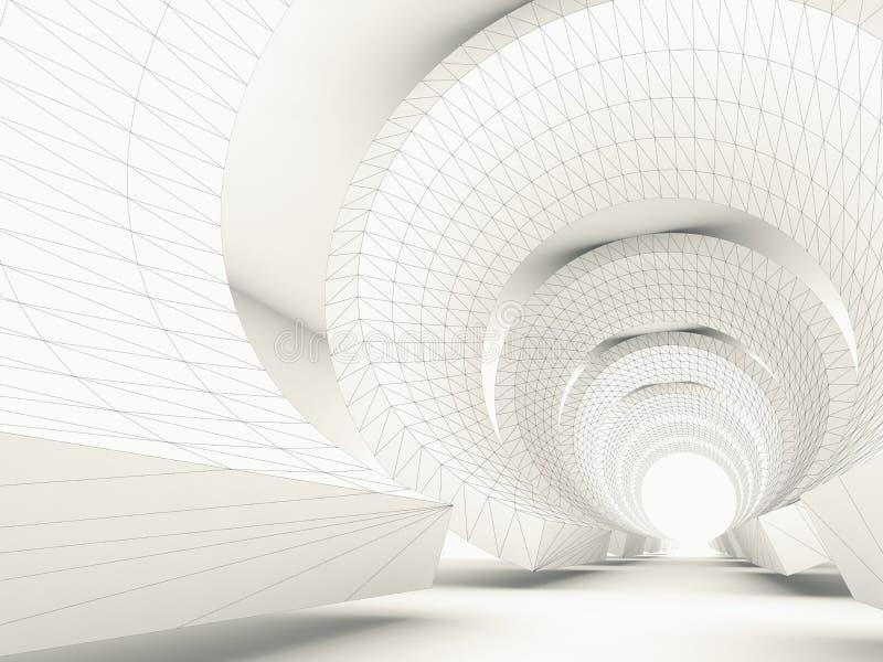 Túnel estilizado modelo com fio-quadro 3d ilustração royalty free