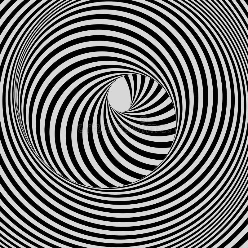Túnel Fundo 3d geométrico abstrato Projeto preto e branco Teste padrão com ilusão ótica ilustração royalty free