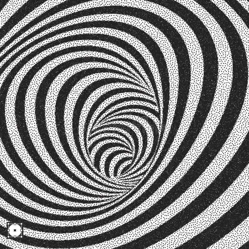 Túnel Fundo listrado abstrato preto e branco Teste padrão do pontilhismo com ilusão ótica Ilustração pontilhada do vetor ilustração do vetor