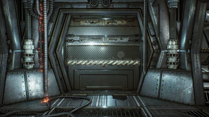 Túnel futurista da ficção científica com faíscas e fumo, vista interior rendição 3d ilustração do vetor