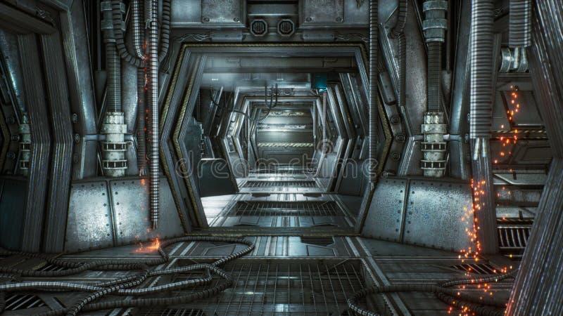 Túnel futurista da ficção científica com faíscas e fumo, vista interior rendição 3d ilustração royalty free