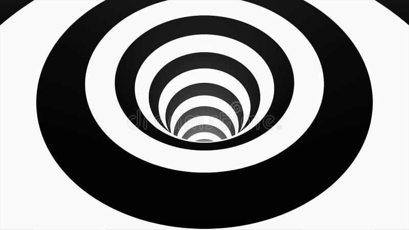 Túnel hipnótico animado con las casillas negras blancas y Wormhole geométrico tridimensional rayado de la ilusión óptica stock de ilustración