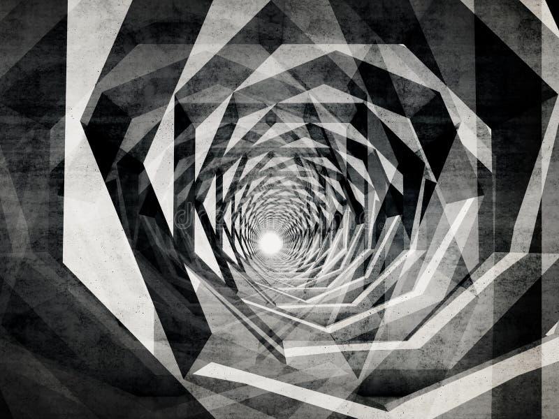 Túnel hipnótico oscuro con textura concreta libre illustration
