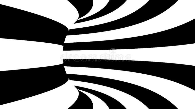 Túnel hipnótico preto e branco 3D rendido ilustração do vetor