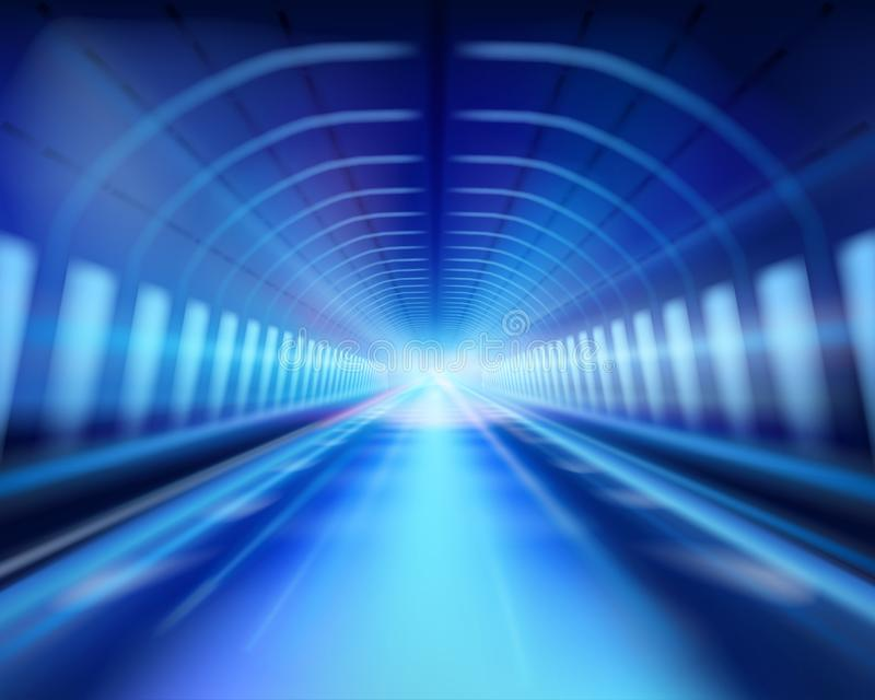 Túnel iluminado largo Ilustración del vector libre illustration
