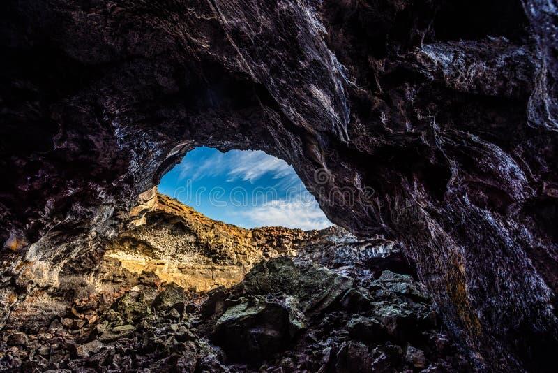 Túnel indiano Lava Tubes Cave fotografia de stock