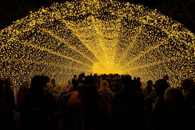Túnel leve em Nabana nenhuma iluminação do inverno de sato, Japão fotografia de stock