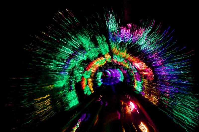 Túnel ligero dentro del túnel de visita turístico de excursión de Shangai foto de archivo libre de regalías