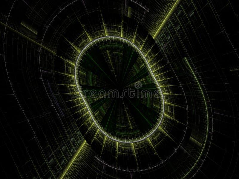 Túnel misterioso do fl do sci com luz na extremidade ilustração stock