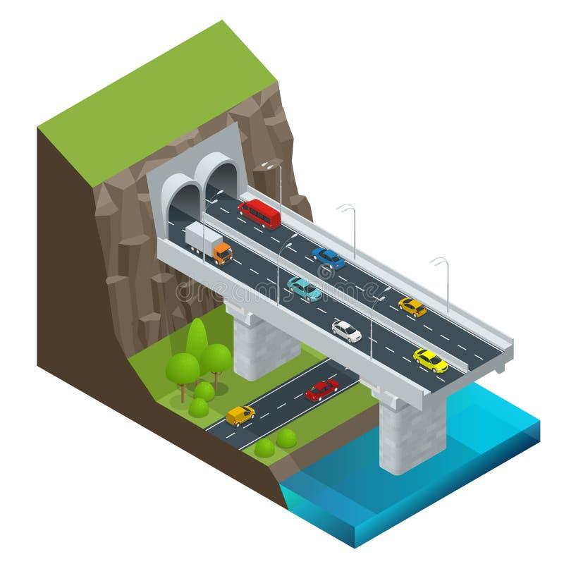 Túnel moderno isométrico da estrada na montanha Estrada com ilustração isolada vetor do túnel ilustração stock