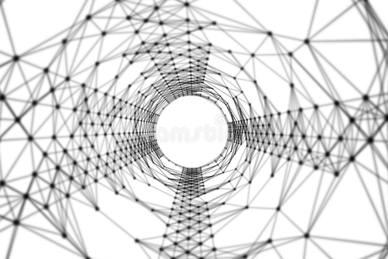 Túnel negro con las líneas del modelo de la conexión de red en blanco Fondo de alta tecnología en el concepto de la tecnología de ilustración del vector