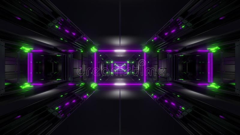 Túnel negro oscuro del espacio con las luces que brillan intensamente 3d que rinden el fondo ilustración del vector
