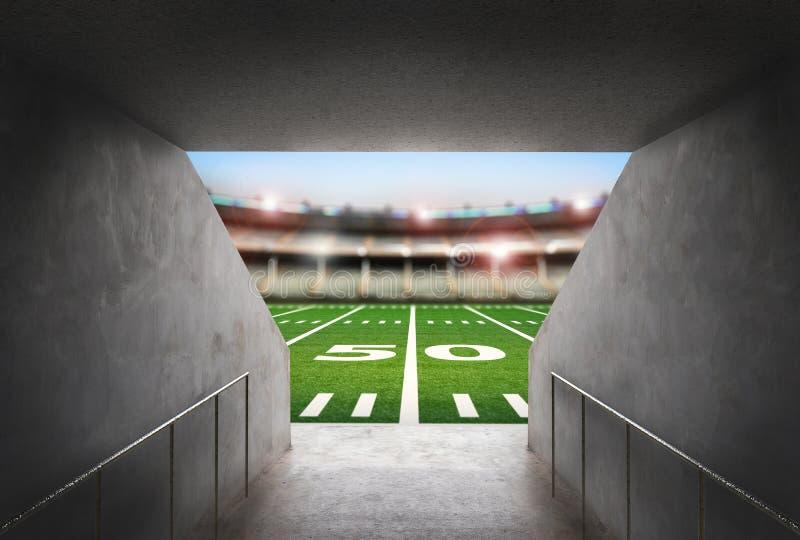 Túnel no estádio de futebol americano imagem de stock