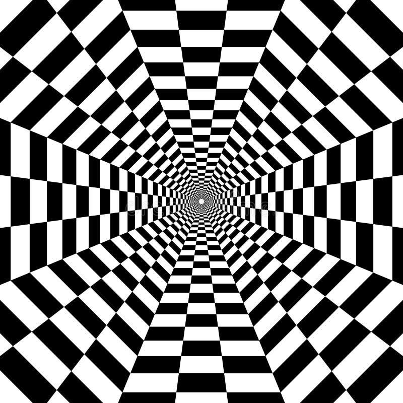 Túnel octagonal hacia fuera en la distancia, geometri blanco y negro stock de ilustración