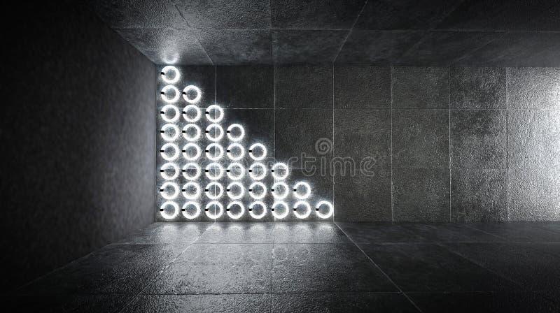 Túnel oscuro futurista con las lámparas y las reflexiones de neón redondas stock de ilustración