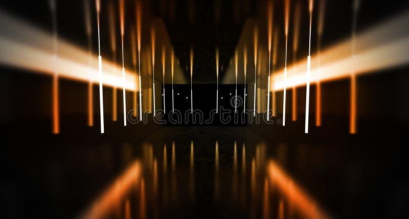 Túnel preto, brilho preto, lâmpadas de néon que penduram do teto, refletido nas paredes e no assoalho Opinião da noite do corredo imagem de stock royalty free