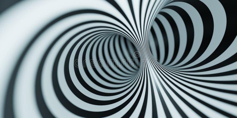 túnel preto e branco da ilusão ótica ilustração royalty free