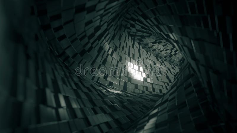 Túnel quadrado abstrato feito dos tijolos rendi??o 3d ilustração stock