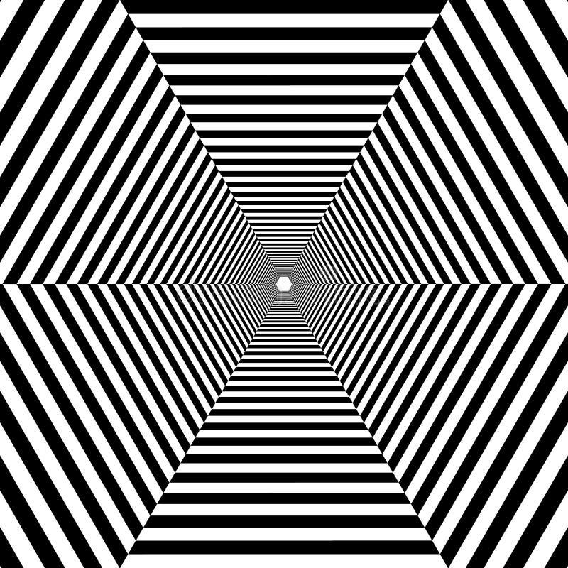 Túnel rayado hexagonal hacia fuera en la distancia, blanco y negro foto de archivo libre de regalías