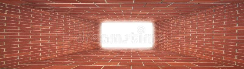 Túnel rojo de la pared de ladrillo con la luz ilustración del vector