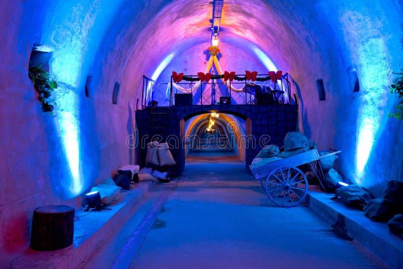 Túnel subterráneo histórico debajo de la ciudad histórica de Zagreb en Cristo fotos de archivo