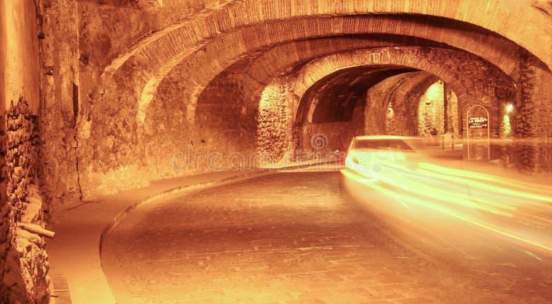 Túnel subterrâneo em Guanaguato, México imagens de stock
