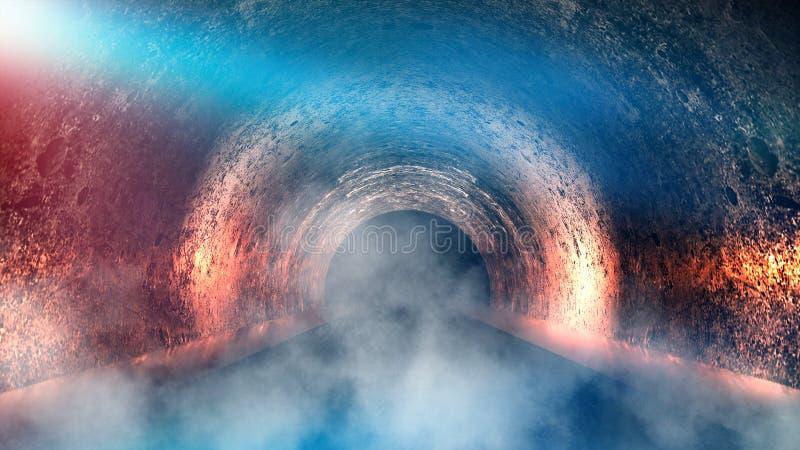 Túnel subterrâneo redondo, caverna, mina Iluminação pela luz de néon ilustração do vetor